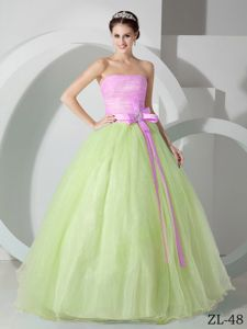 Pink Bodice and Green Skirt for Sash and Ruching Quinceanea Dress