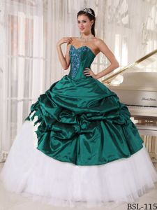 Green Taffeta and White Tulle for Appliques Dresses for Quinceanera