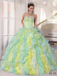 Multi-color Boning Details and Pieces Ruffles Sweet Sixteen Dresses