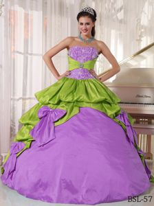 Spring Green and Purple Quinceanera Gowns with Ruffles Overlay