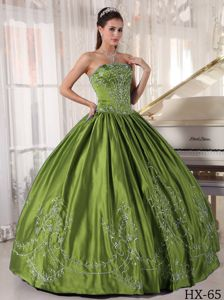 Olive Green Strapless Embroidery Quinceanera Dress with Corset