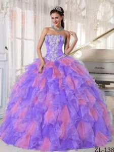Purple and Pink Ball Gown Quinceanera Dress with White Appliques