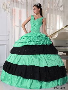 Green and Black Straps with V-neck Beading Quinceanera Dress