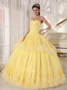 Yellow Pleating Ball Gown with Heavy Tulle Appliques Dresses 15
