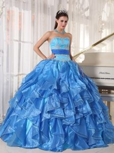 Blue Pieces Ruffles and Appliques Dresses For a Quince with Sash