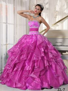 Ruching Sash and Pieces Ruffles Appliques Sweet Sixteen Dresses