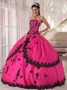 Hot Pink Quinceanera Dress with Heavy Black Embroidery for Accent