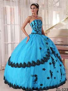 Aqua Blue Ball Gown 2013 Dresses For a Quince with Black Appliques