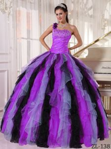 Multi-colored One Shoulder Beading and Ruffles Quinceanera Dress