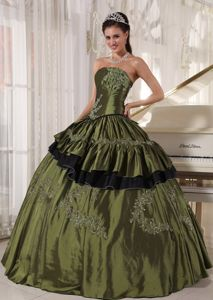 Pleating and Ruffles Overlay Beading Sweet 16 Dresses in Olive Green