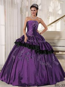 Purple Ball Gown and Black Ruffles Hemline Beaded Quinceanera Dress