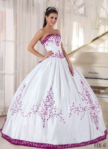 White Ball Gown and Purple Embroidery 2013 Sweet Sixteen Dresses