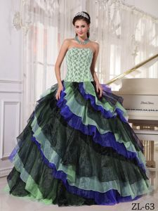 Multi-color Ball Gown Appliques with Beading Dresses For a Quince