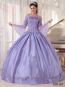 off the Shoulder with Long Sleeves Appliques Dresses 15 in Lavender
