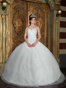 White Ball Gown Tulle Overlay Quinceanera Dress Decorated Appliques