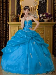 White Appliques and Ruffles Overlay Dress For Quinceanera in Baby Blue