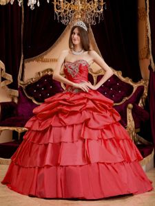 Coral Red Layered Ruffles Appliques Dresses For a Quince with Corset