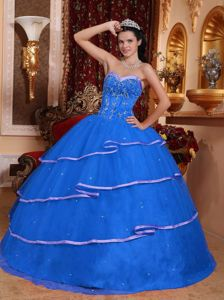 Blue Beading 2013 Quinceanera Dress with Different Shade Hemline