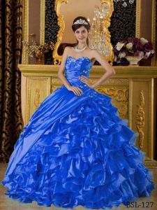 Alison Lohman Royal Blue Appliques Ruching Quinceanera Gown Dresses with Ruffles