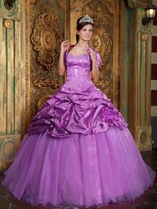 Lilac Ball Gown Sweetheart Ruffles Appliques Quinceanera Dress