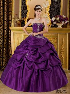 Eggplant Purple Beaded Appliqued Quinceanera Party Dresses 2012