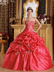 Impressive Taffeta Pick-ups Appliqued Coral Red Sweet 16 Dress