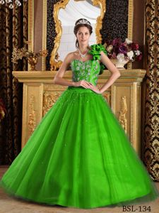 The Best one Shoulder A-line Beaded Green Sweet Sixteen Dresses
