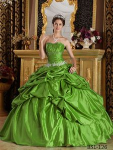 Classy Taffeta Appliqued Spring Green Quinceanera Dress Stores