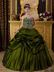 Sweetheart Pick-ups Beaded Olive Green Sweet 15 Birthday Dress