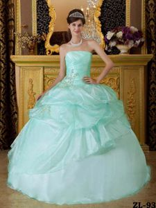 New Style Organza Appliqued Apple Green Quinceanera Dresses