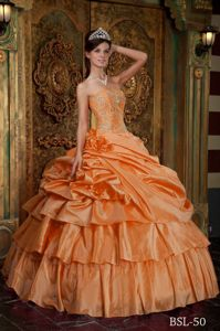 Impressive Handmade Flowers Ruffled Orange Quinceanera Gowns