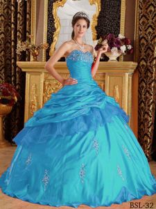 Classy Aqua Blue Sweetheart Floor-length Appliqued Quinceanera Dress