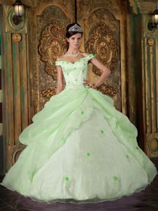 Off The Shoulder Appliqued Apple Green Sweet 16 Birthday Dress