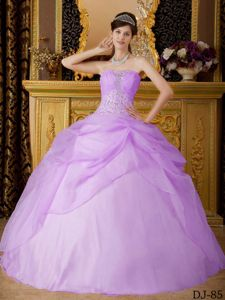 Lilac Strapless Beaded Quinceanera Party Dresses for Rent