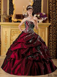 Pretty New Wine Red Quinceanera Gowns Dresses with Appliques