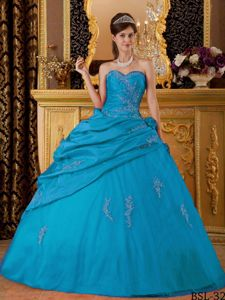 New Style Ball Gown Sweetheart Appliqued Teal Dress for Quince