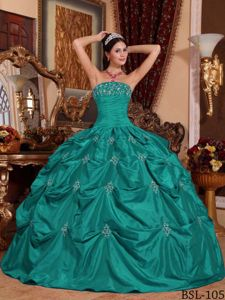 Best Turquoise Sweet Sixteen Dresses with Pick-ups Appliqued