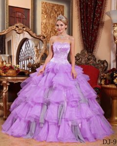 Plus Size New Style Lilac Ruffled Beaded Sweet 15 Dresses