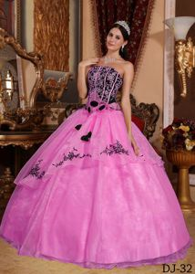 Impressive Corset Back Rose Pink Sweet 16 Dress with Embroidery