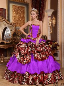 High-class Leopard Print Colorful Ruffled Quinceanera Dresses