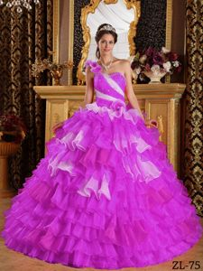 Beautiful one Shoulder Light Purple Ruffled Sweet Sixteen Dresses