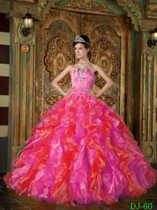 2012 Most Popular Appliqued Hot Pink Ruffled Dress for Quince