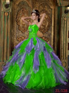 Perfect Two-toned Beaded Ruffled Quinceanera Gowns Wholesale