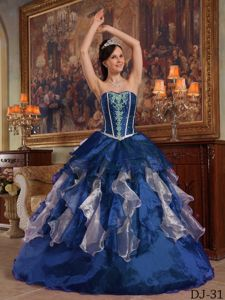Sweetheart Beaded Ruffled Multi-colored Quinceanera Gown Dress