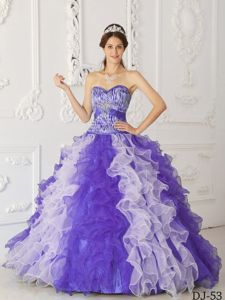 Two-toned Puffy Ruffled Quinceanera Gown Dress with Zebra Print