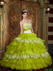 Cinderella Design Yellow Green and White Zebra Print Ruffled Sweet 16 Dress