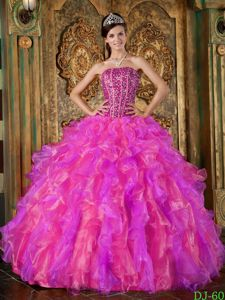 Pretty Corset Ruffled Beaded Colorful Quinceanera Party Dress