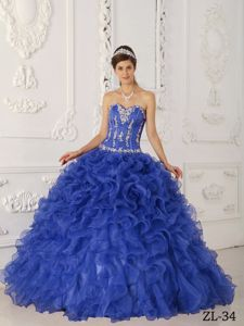 Plus Size Sweetheart Appliqued Ruffled Royal Blue Dress for Sweet 15