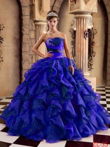 New Style Strapless Blue Ruffled Appliqued Quinceanera Dresses