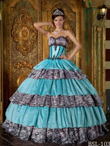 Luxurious Zebra Print Multi-color Quince Dress with Ruffled Layers